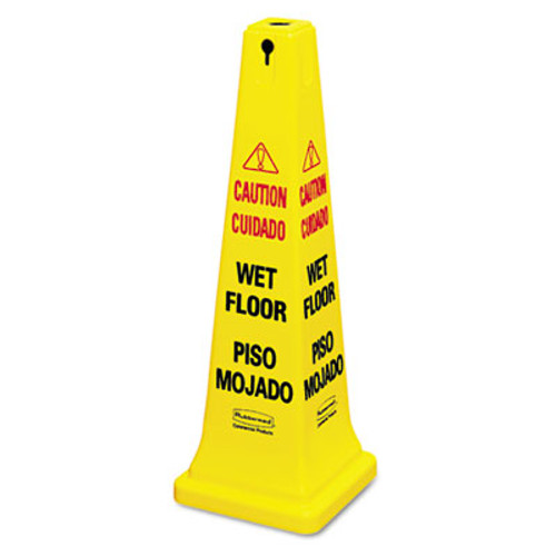 Rubbermaid Commercial Four-Sided Caution, Wet Floor Yellow Safety Cone, 12 1/4 x 12 1/4 x 36h (RCP 6276-77 YEL)