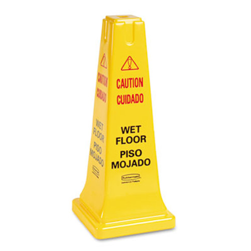 Rubbermaid Commercial Four-Sided Caution, Wet Floor Safety Cone, 10 1/2w x 10 1/2d x 25 5/8h, Yellow (RCP 6277-77 YEL)