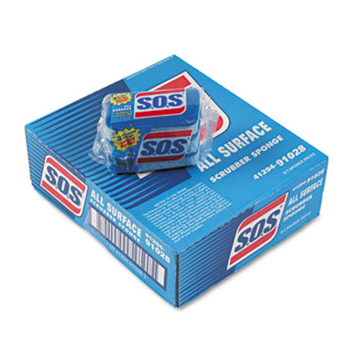 """S.O.S.A All Surface Scrubber Sponge, 2 1/2 x 4 1/2, 0.9"""" Thick, Blue, 3/Pack, 8 Packs/CT (CLO 91028)"""