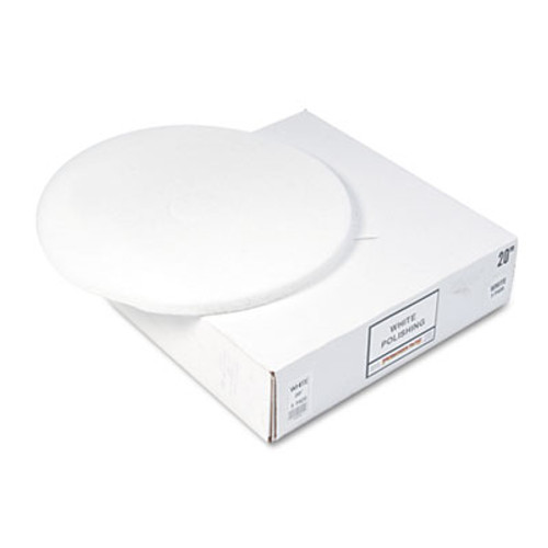Boardwalk Polishing Floor Pads  20  Diameter  White  5 Carton (PAD 4020 WHI)