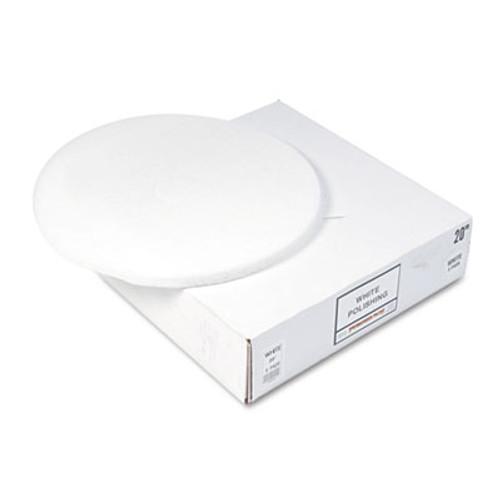 Boardwalk Polishing Floor Pads  20  Diameter  White  5 Carton (PAD 4020 WHI)