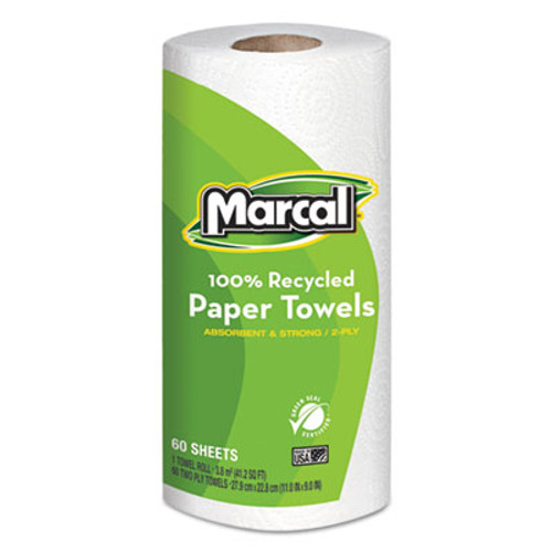 Marcal 100  Recycled Roll Towels  2-Ply  9 x 11  60 Sheets  15 Rolls Carton (MAC 6709-01)