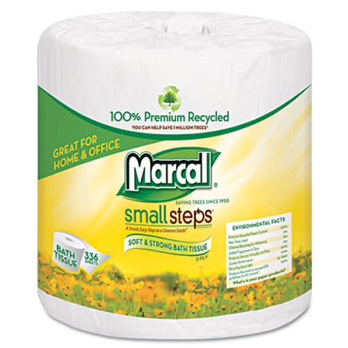 Marcal 100  Recycled Two-Ply Bath Tissue  Septic Safe  White  330 Sheets Roll  48 Rolls Carton (MAC 6079)