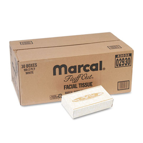 Marcal PRO 100  Recycled Convenience Pack Facial Tissue  Septic Safe  2-Ply  White  100 Sheets Box  30 Boxes Carton (MAC 2930)