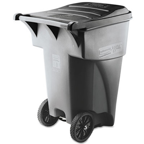 Rubbermaid Commercial Brute Rollout Heavy-Duty Waste Container, Square, Polyethylene, 95gal, Gray (RCP 9W22 GRA)