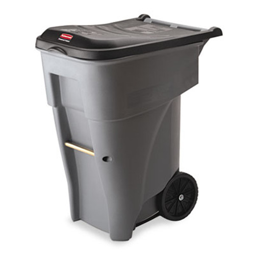 Rubbermaid Commercial Brute Rollout Heavy-Duty Waste Container, Square, Polyethylene, 65gal, Gray (RCP 9W21 GRA)