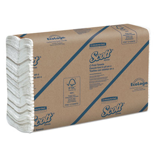 Scott C-Fold Paper Towels, 10 1/10 x 13 1/5, 200/Pack, 12 Packs/Carton (KCC 02920)