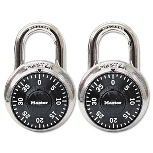 "Master Lock Combination Lock, Stainless Steel, 1 7/8"" Wide, Black Dial, 2/Pack (MLK1500T)"