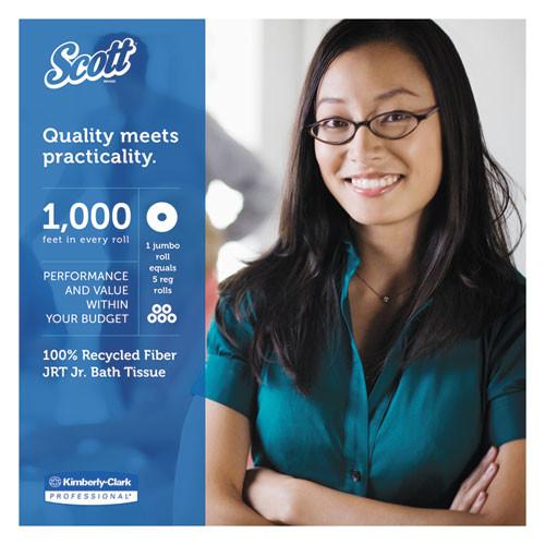 Scott Essential 100  Recycled Fiber JRT Bathroom Tissue  Septic Safe  2-Ply  White  1000 ft  12 Rolls Carton (KCC 67805)