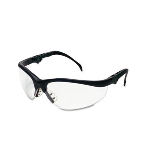 Crews Klondike Plus Safety Glasses, Black Frame, Clear Lens (MCR KD310)