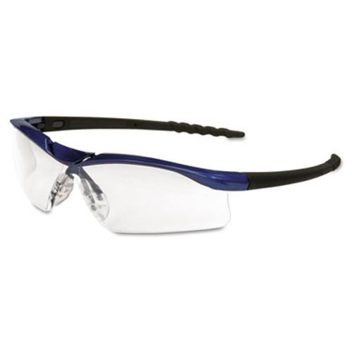 MCR Safety Dallas Wraparound Safety Glasses  Metallic Blue Frame  Clear AntiFog Lens (MCR DL310AF)