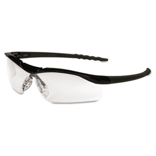 Crews Dallas Wraparound Safety Glasses, Black Frame, Clear Lens (MCR DL110)