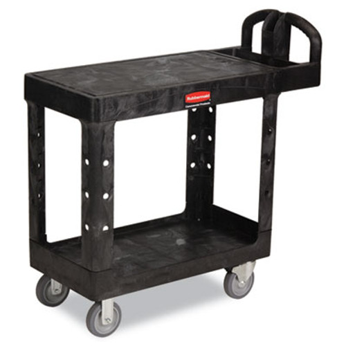 Rubbermaid Commercial Flat Shelf Utility Cart, Two-Shelf, 19-3/16w x 37-7/8d x 33-1/3h, Black (RCP 4505 BLA)