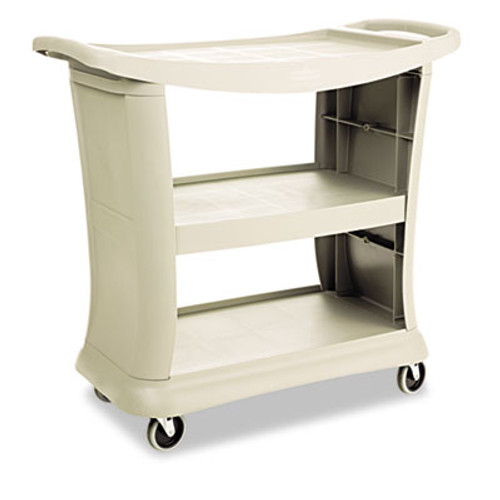 Rubbermaid Commercial Executive Service Cart, Three-Shelf, 20-1/3w x 38-9/10d, Platinum (RCP 9T68 PLA)
