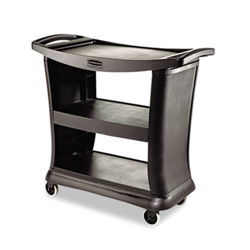 Rubbermaid Commercial Executive Service Cart  Three-Shelf  20 33w x 38 9d x 38 9 h  Black (RCP 9T68 BLA)