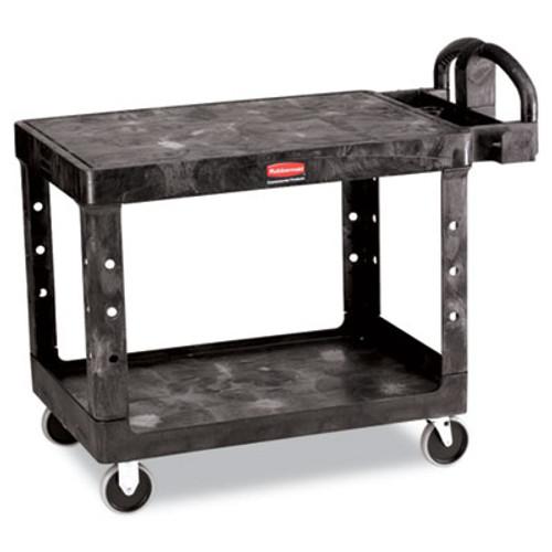 Rubbermaid Commercial Flat Shelf Utility Cart  Two-Shelf  25 25w x 44d x 38 13h  Black (RCP 4525 BLA)