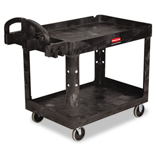 Rubbermaid Commercial Heavy-Duty Utility Cart  Two-Shelf  25 9w x 45 2d x 32 2h  Black (RCP 4520-88 BLA)