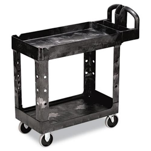 Rubbermaid Commercial Heavy-Duty Utility Cart  Two-Shelf  17 13w x 38 5d x 38 88h  Black (RCP 4500-88 BLA)
