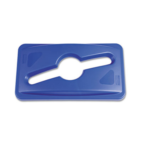 Rubbermaid Commercial Slim Jim Single Stream Recycling Top for Slim Jim Containers  12 1w x 21d x 2 75h  Blue (RCP 1788372)