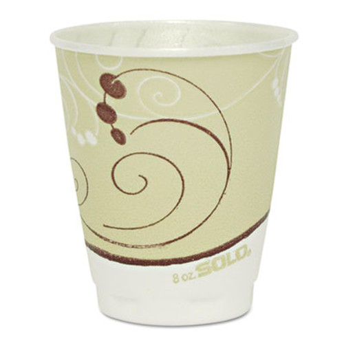 Dart Symphony Design Trophy Foam Hot Cold Drink Cups  8 oz  Beige  1000 Carton (SCC X8SYM)