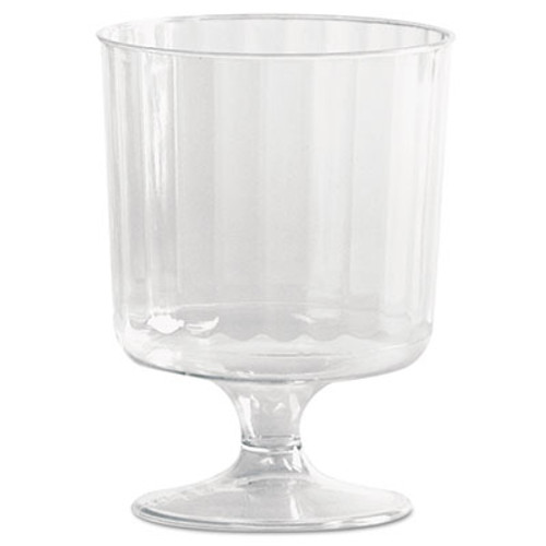 WNA Classic Crystal Plastic Wine Glasses on Pedestals  5 oz   Clear  Fluted  10 Pack (WNA CCW5240)