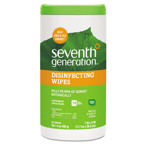 Seventh Generation Botanical Disinfecting Wipes  8 x 7  70 Count (SEV22813EA)