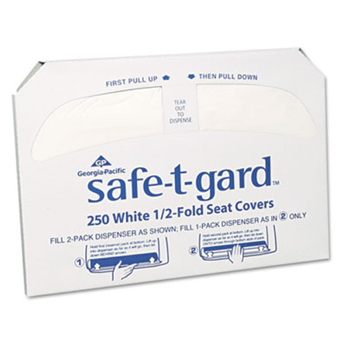 Georgia Pacific Professional Half-Fold Toilet Seat Covers, White, 250/Pack, 20 Boxes/Carton (GPC 470-46)