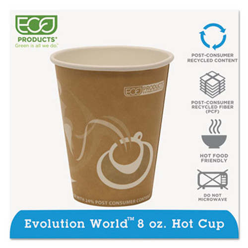 Eco-Products Evolution World 24  Recycled Content Hot Cups - 8oz   50 PK  20 PK CT (ECP EP-BRHC8-EW)