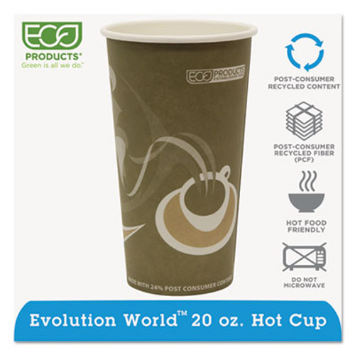 Eco-Products Evolution World 24% Recycled Content Hot Cups - 20oz., 50/PK, 20 PK/CT (ECP EP-BRHC20-EW)