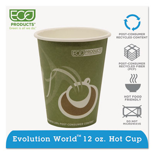 Eco-Products Evolution World 24  Recycled Content Hot Cups - 12oz   50 PK  20 PK CT (ECP EP-BRHC12-EW)