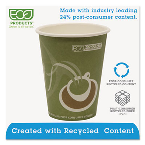 Eco-Products Evolution World 24% Recycled Content Hot Cups - 12oz., 50/PK, 20 PK/CT (ECP EP-BRHC12-EW)
