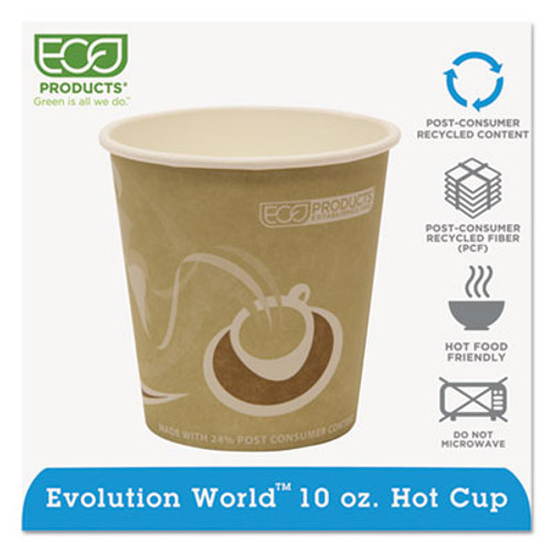Eco-Products Evolution World 24% Recycled Content Hot Cups - 10oz., 50/PK, 20 PK/CT (ECP EP-BRHC10-EW)