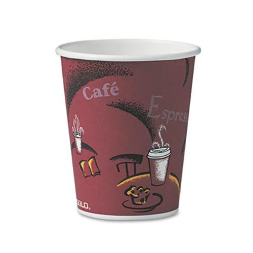 SOLO Cup Company Bistro Design Hot Drink Cups, Paper, 10oz, Maroon, 300/Carton (SCC OF10BI)