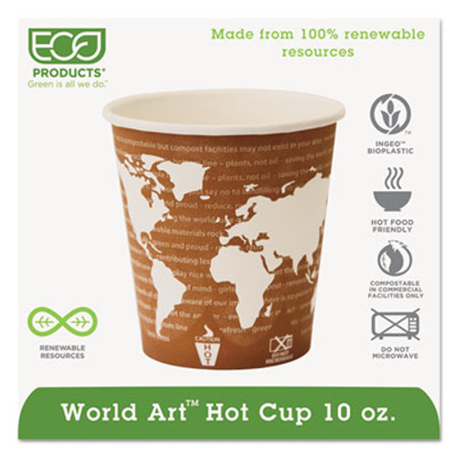 Eco-Products World Art Renewable Compostable Hot Cups  10 oz   50 PK  20 PK CT (ECP EP-BHC10-WA)