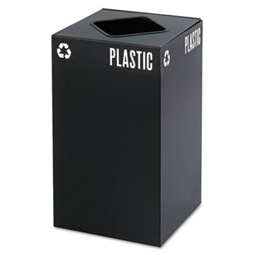 Safco Public Square Plastic-Recycling Container  Square  Steel  25 gal  Black (SAF2981BL)