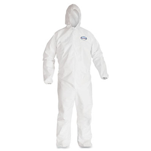 KleenGuard A40 Elastic-Cuff and Ankles Hooded Coveralls  White  X-Large  25 Case (KCC 44324)