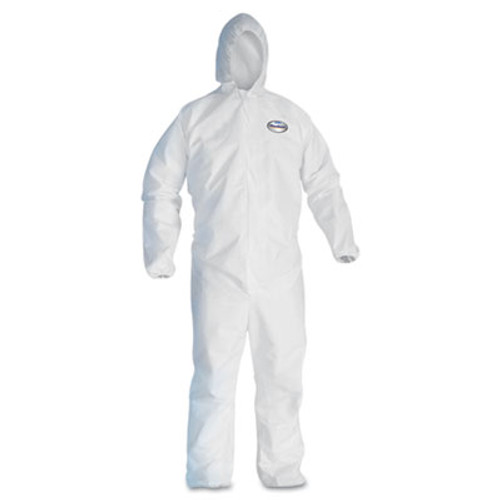 KleenGuard* A30 Elastic-Back & Cuff Hooded Coveralls, White, X-Large, 25/Case (KCC 46114)