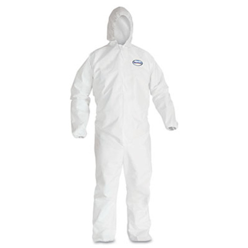 KleenGuard* A30 Elastic-Back & Cuff Hooded Coveralls, White, 2X-Large, 25/Case (KCC 46115)