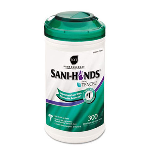 Sani Professional Hands Instant Sanitizing Wipes  7 1 2 x 5  300 Canister (NICP92084EA)