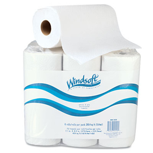 Windsoft Kitchen Roll Towels  2 Ply  11 x 9  White  72 Roll  6 Rolls Pack (WIN 2420)