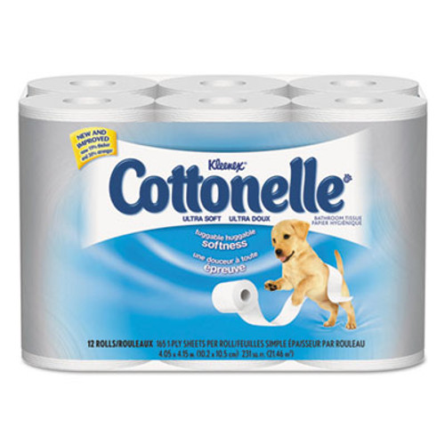 Cottonelle Clean Care Bathroom Tissue  Septic Safe  1-Ply  White  170 Sheets Roll  48 Rolls Carton (KCC 12456)