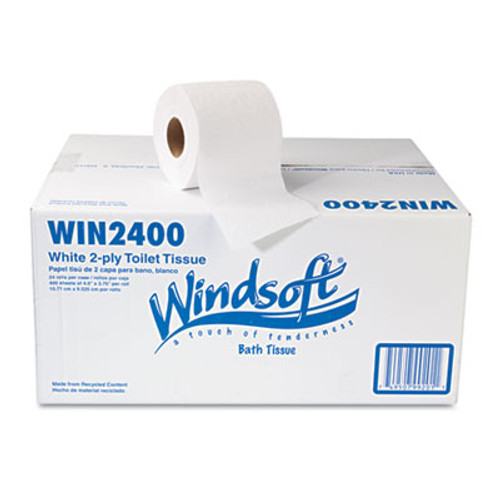 Windsoft Bath Tissue  Septic Safe  2-Ply  White  4 x 3 75  400 Sheets Roll  24 Rolls Carton (WIN 2400)