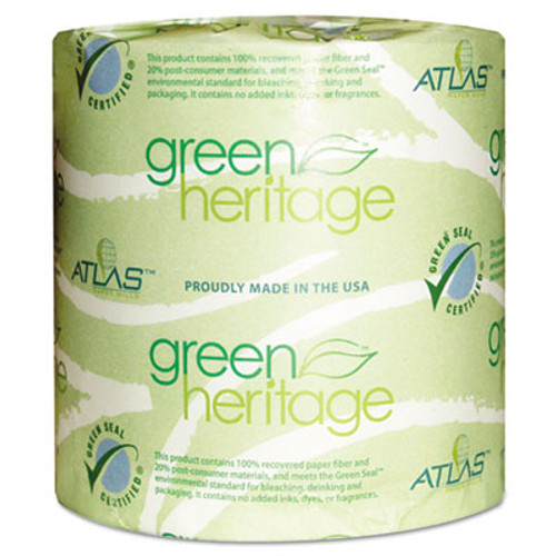 Atlas Paper Mills Green Heritage Toilet Tissue, 4 1/10 x 3 1/10 Sheets, 2Ply, 500/Roll, 96 Roll/CT (APM276GREEN)