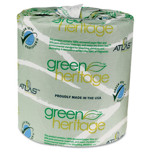 Atlas Paper Mills Green Heritage Toilet Tissue, 4 1/2 x 3 1/2 Sheets, 2-Ply, 500/Roll, 96 Rolls/CT (APM235GREEN)