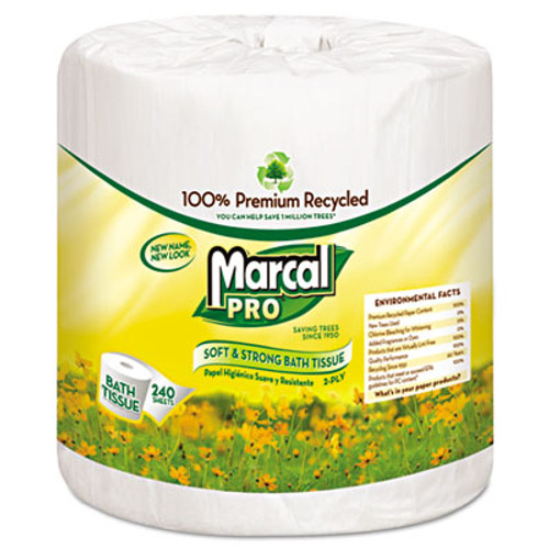 Marcal PRO 100  Recycled Bathroom Tissue  Septic Safe  2-Ply  White  242 Sheets Roll  48 Rolls Carton (MAC 3001)