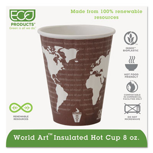 Eco-Products World Art Renewable and Compostable Insulated Hot Cups  PLA  12 oz  40 Packs  15 Packs Carton (ECP EP-BNHC8-WD)