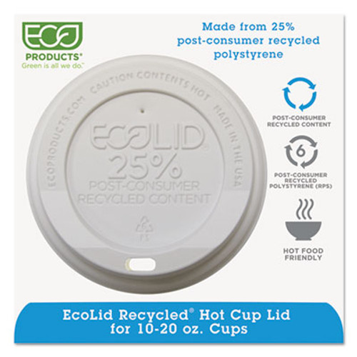 Eco-Products EcoLid 25% Recy Content Hot Cup Lid, White, F/10-20oz, 100/PK, 10 PK/CT (ECP EP-HL16-WR)