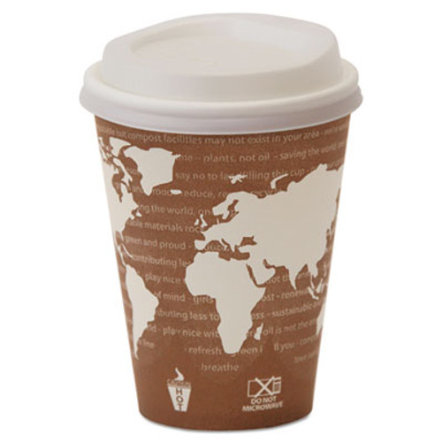 Eco-Products EcoLid 25  Recy Content Hot Cup Lid  White  Fits 8oz Hot Cups  100 PK  10 PK CT (ECP EP-HL8-WR)