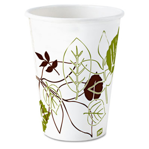 Dixie Pathways Paper Hot Cups, 8 oz, White/Green, 50/Pack (DIX 2338PATH)