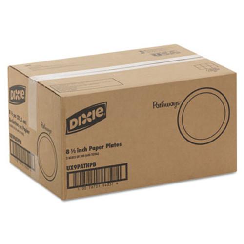 Dixie Pathways Soak-Proof Shield Medium Wt Paper Plates  8 1 2   Dispenser Box  600 Ct (DIX UX9PATHPB)